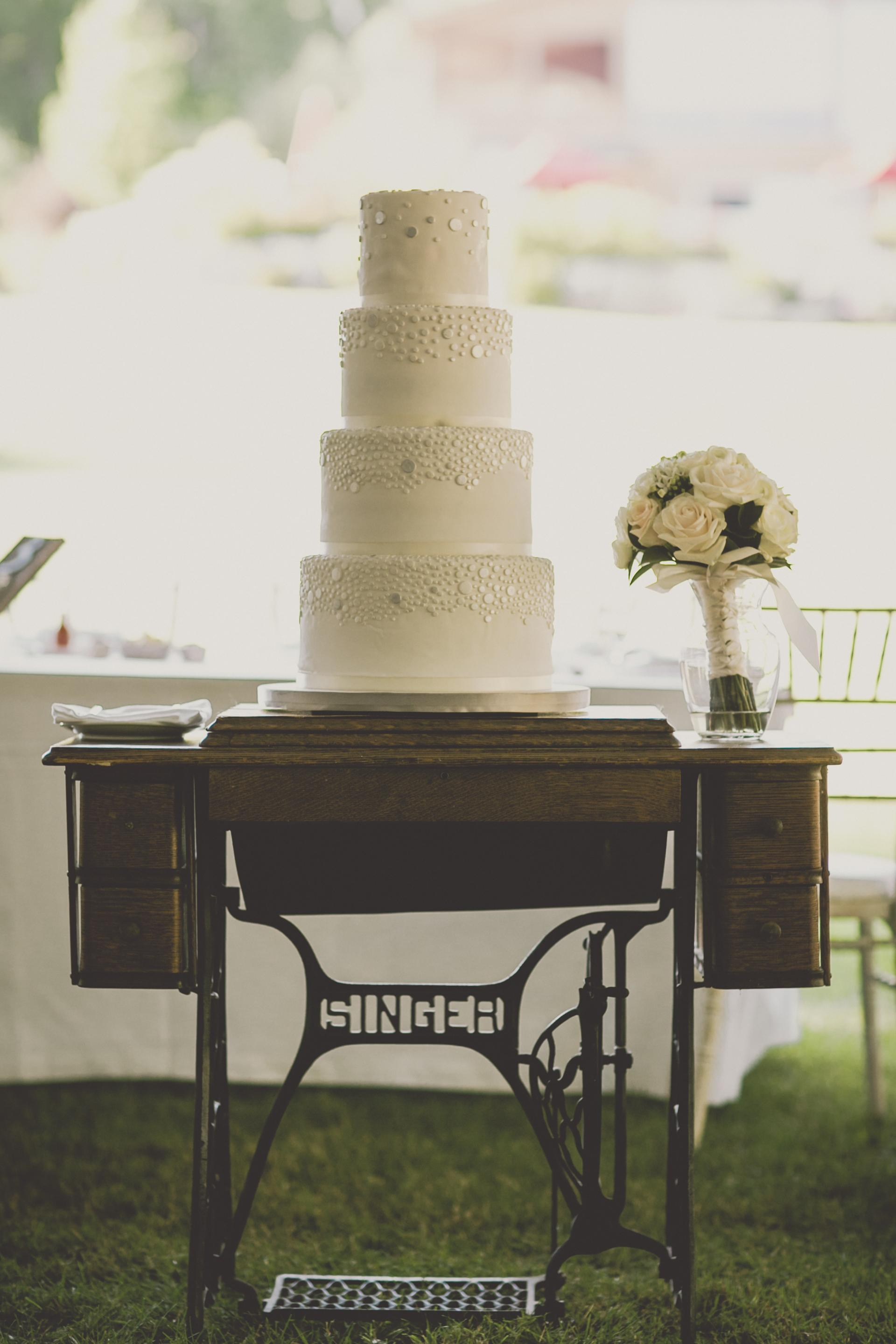 Farm Barn Wedding Cake Singer Sewing Machine