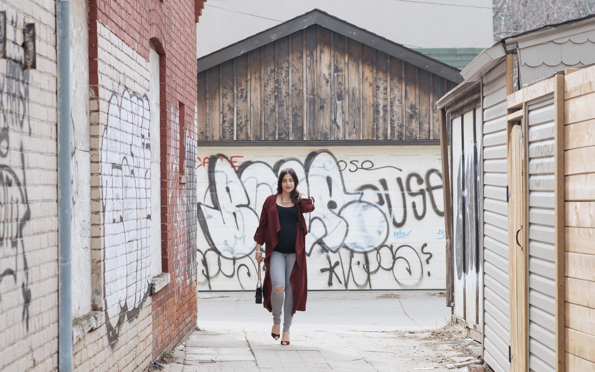 Bordeaux Transition Trench Spring | Grey Maternity Jeans | Bump Style