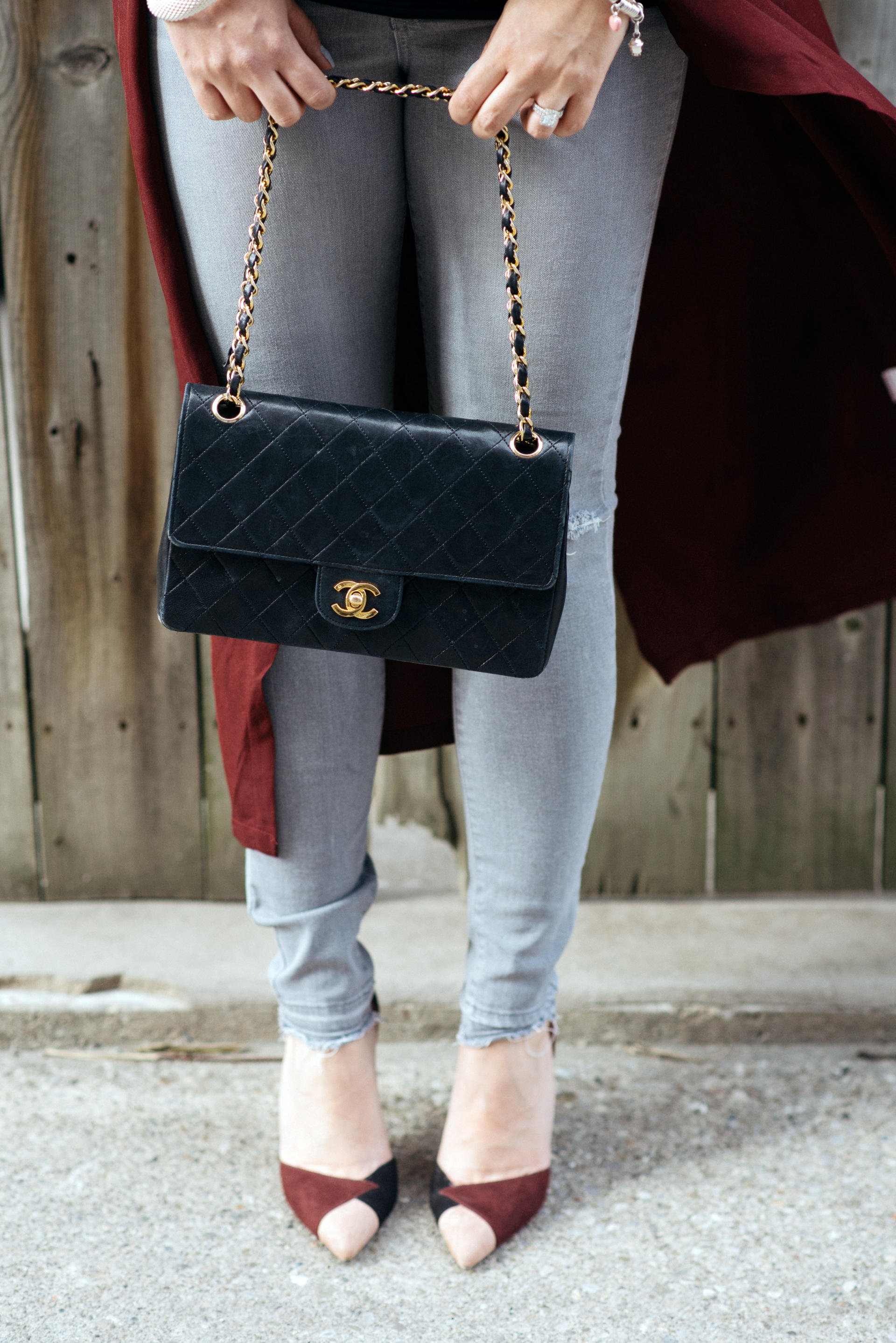 Black Chanel Flap Bag | Grey Maternity Jeans | Bump Style | Bordeaux Transition Trench Spring