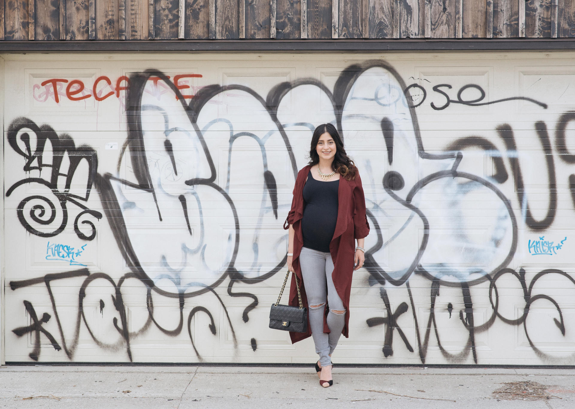 Bordeaux Transition Trench Spring | Black Chanel Flap Bag | Grey Maternity Jeans | Bump Style