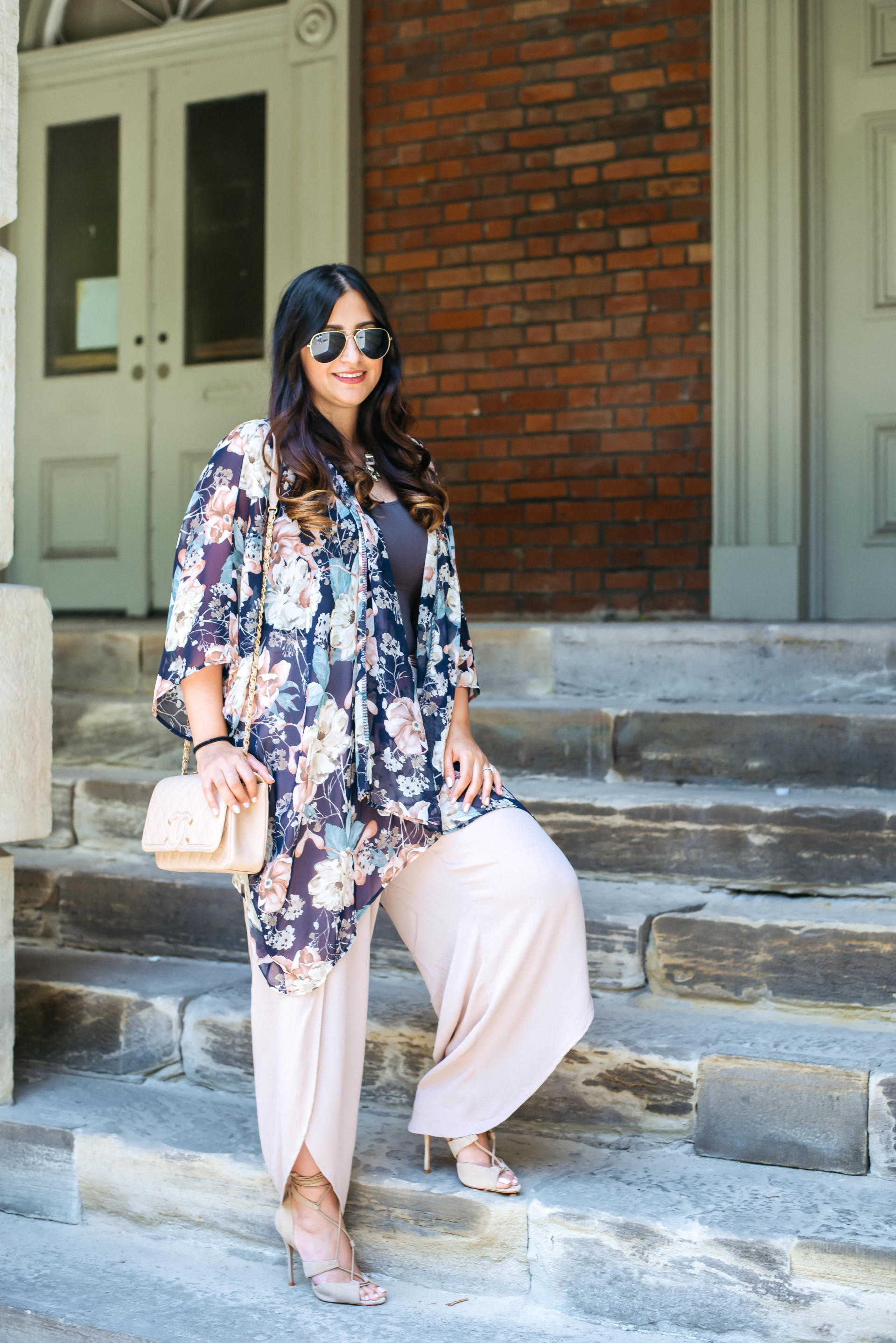 How to Wear a Kimono | Navy Kimono for Fall Transition from PinkBlush