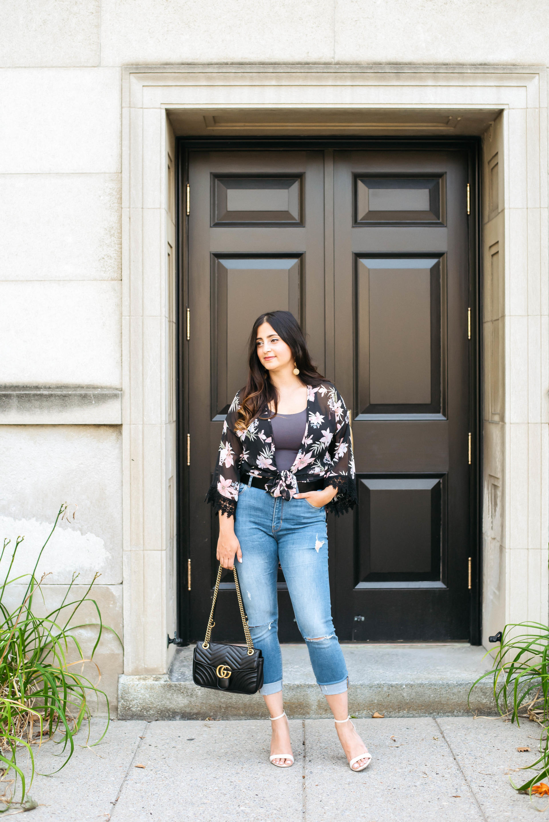 Black Floral Kimono | Gucci Marmont Bag