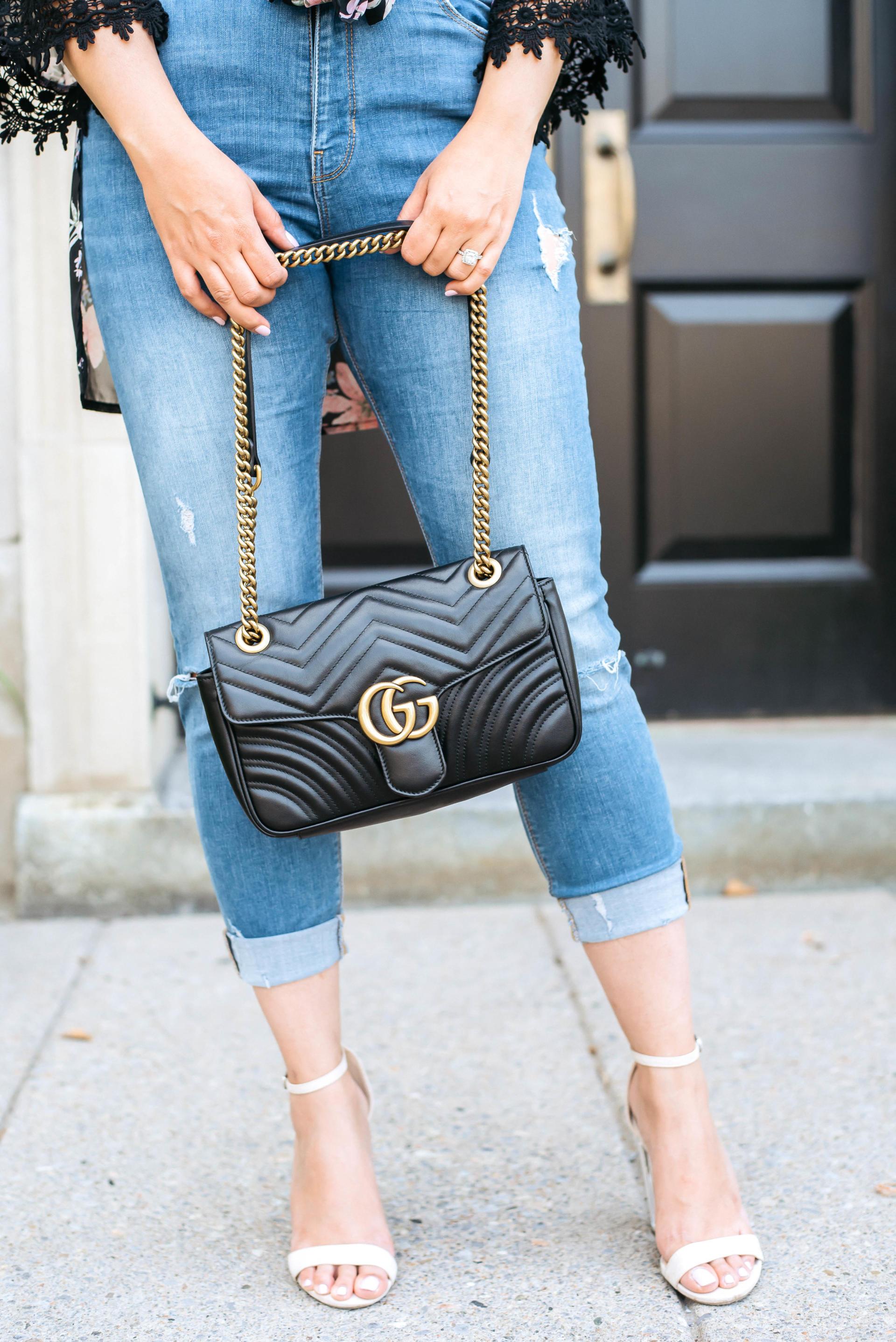 Gucci Marmont Bag | Black Floral Kimono